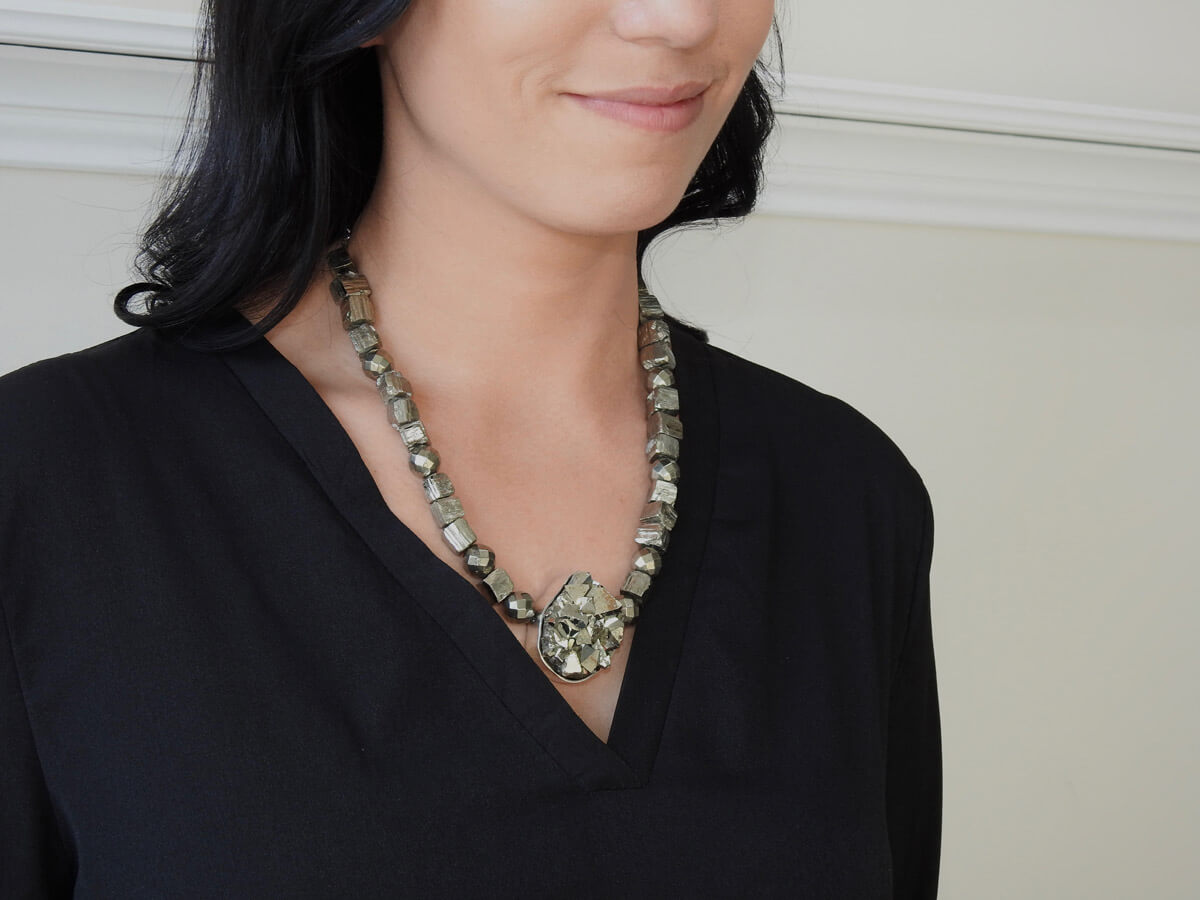 Jackie Ribbons - Pyrite Necklace